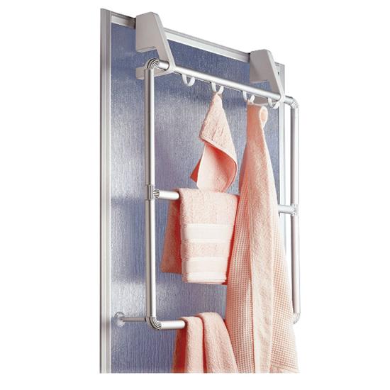wenko handtuchhalter f r t r duschkabine compact 4 haken handtuchstange ebay. Black Bedroom Furniture Sets. Home Design Ideas