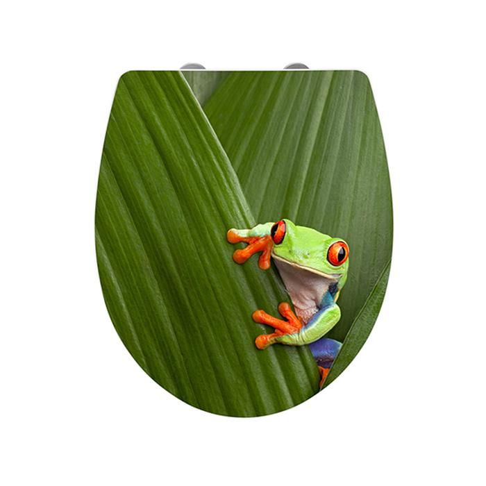 wenko wc sitz toilettendeckel acryl frog absenkautomatik klobrille toilettensitz ebay. Black Bedroom Furniture Sets. Home Design Ideas
