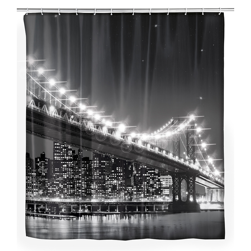 wenko led duschvorhang brooklyn bridge vorhang badezimmer. Black Bedroom Furniture Sets. Home Design Ideas