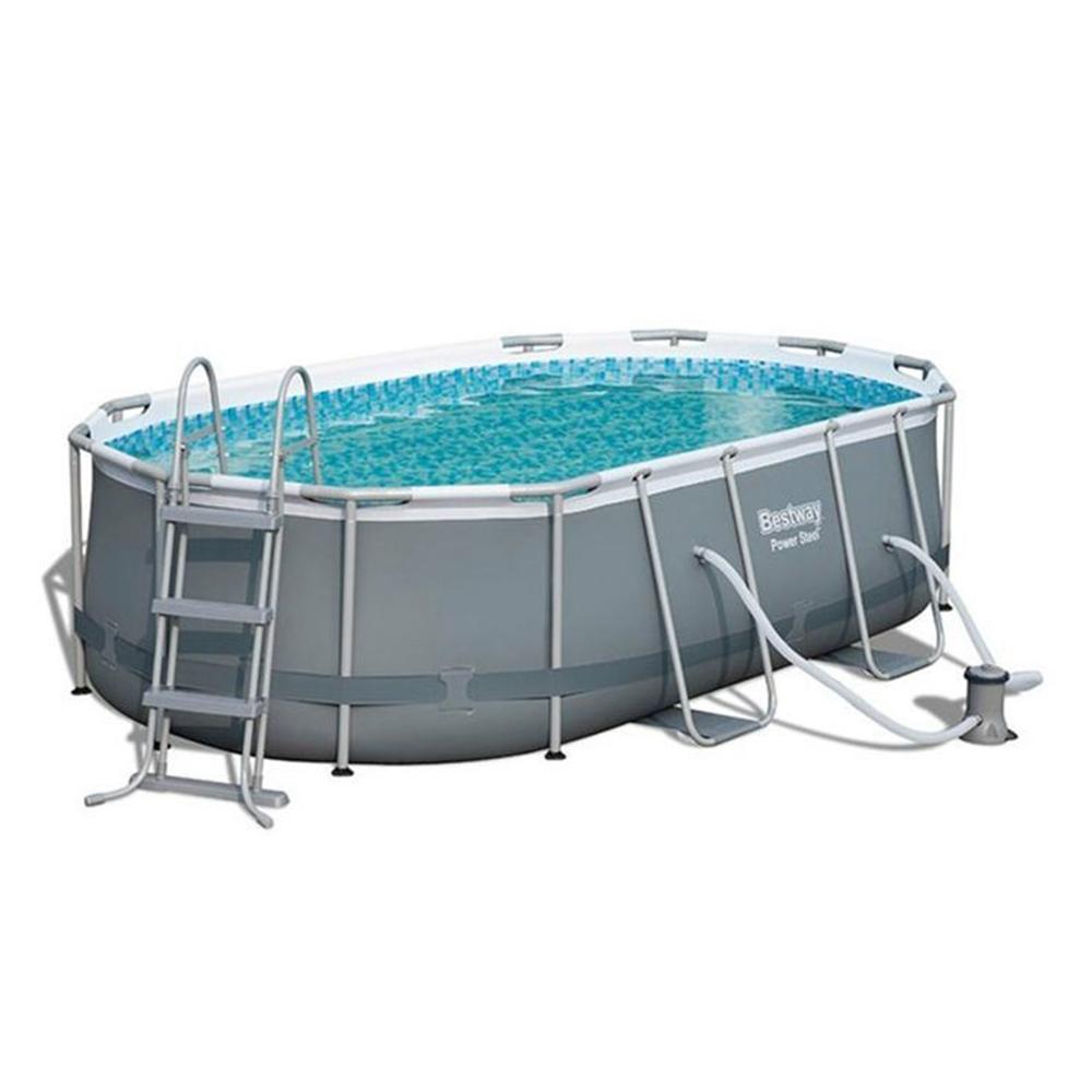 bestway frame pool power steel set oval 424x250x100 cm swimmingpool neu ebay. Black Bedroom Furniture Sets. Home Design Ideas