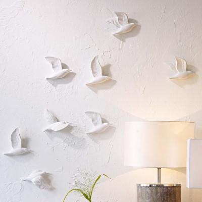 Ceramic wall art flying seagulls birds white set of 5 for Dekoration wand