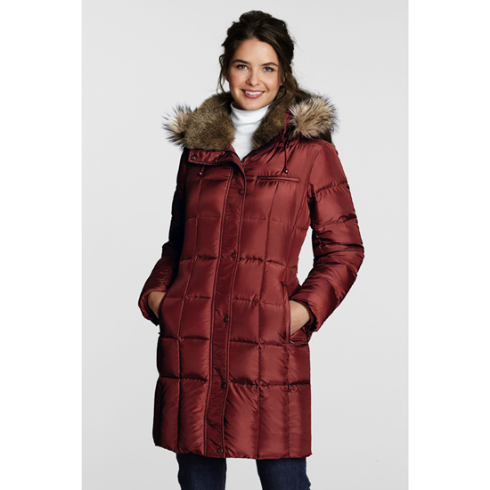 lands 39 end damen daunenmantel wintermantel mantel rot ebay. Black Bedroom Furniture Sets. Home Design Ideas