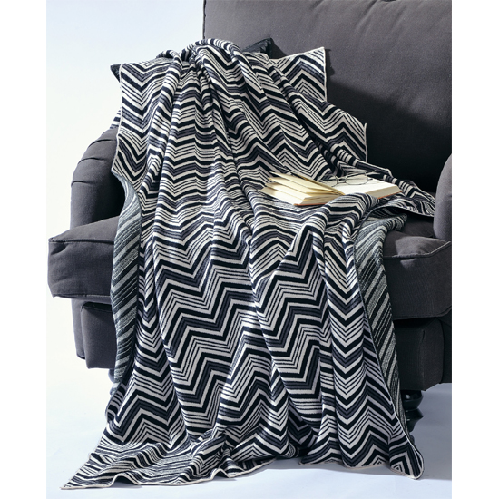 wohndecke decke tagesdecke wolldecke zigzag schwarz wei kuscheldecke neu ebay. Black Bedroom Furniture Sets. Home Design Ideas