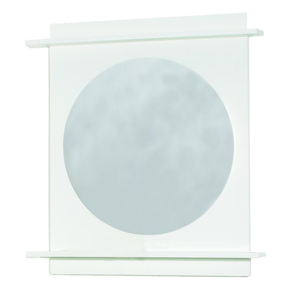 spiegel spiegelelement 600 wei rund mit ablagen. Black Bedroom Furniture Sets. Home Design Ideas