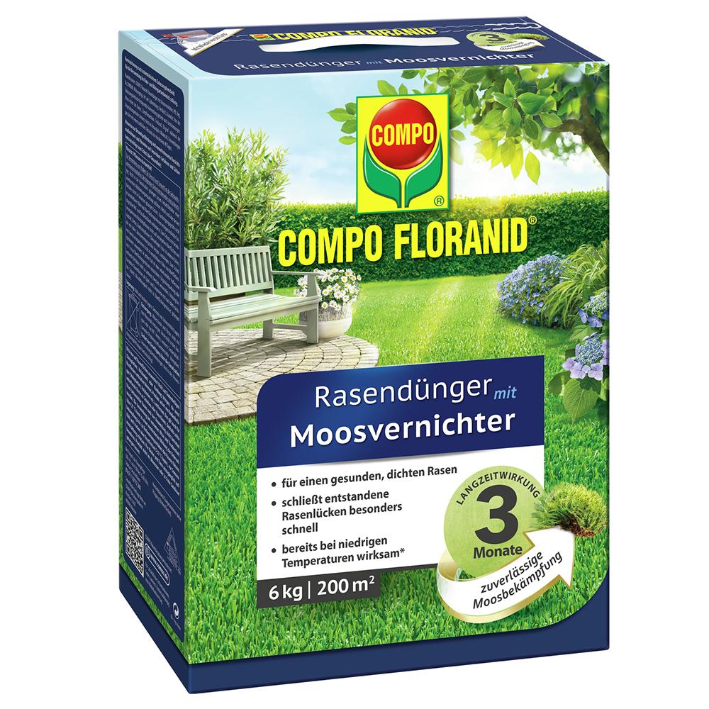 COMPO FLORANID Rasendünger mit Moosvernichter Langzeitwirkung 6 kg ...
