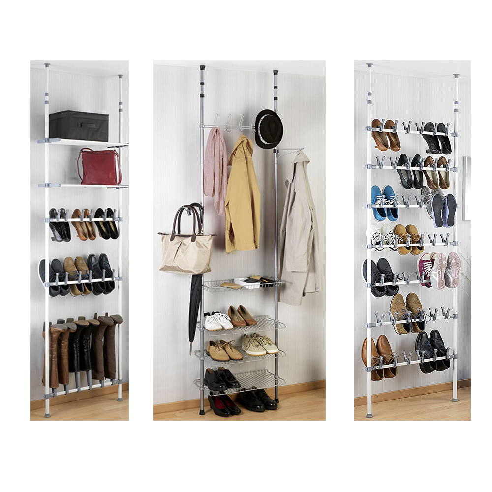 wenko teleskop schuhregal regal schuhschrank garderobe teleskopregal ablage neu ebay. Black Bedroom Furniture Sets. Home Design Ideas