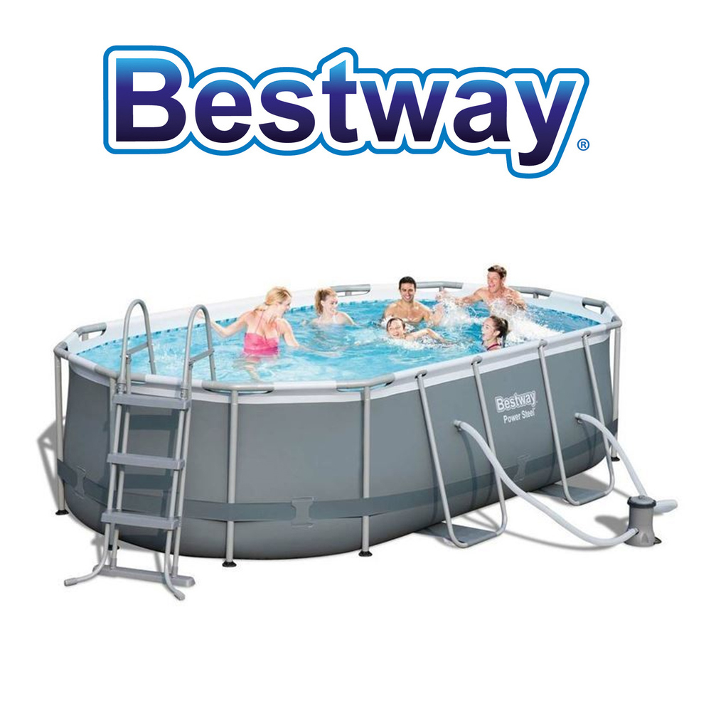 bestway frame pool power steel set oval 424x250x100 cm swimmingpool neu ebay. Black Bedroom Furniture Sets. Home Design Ideas