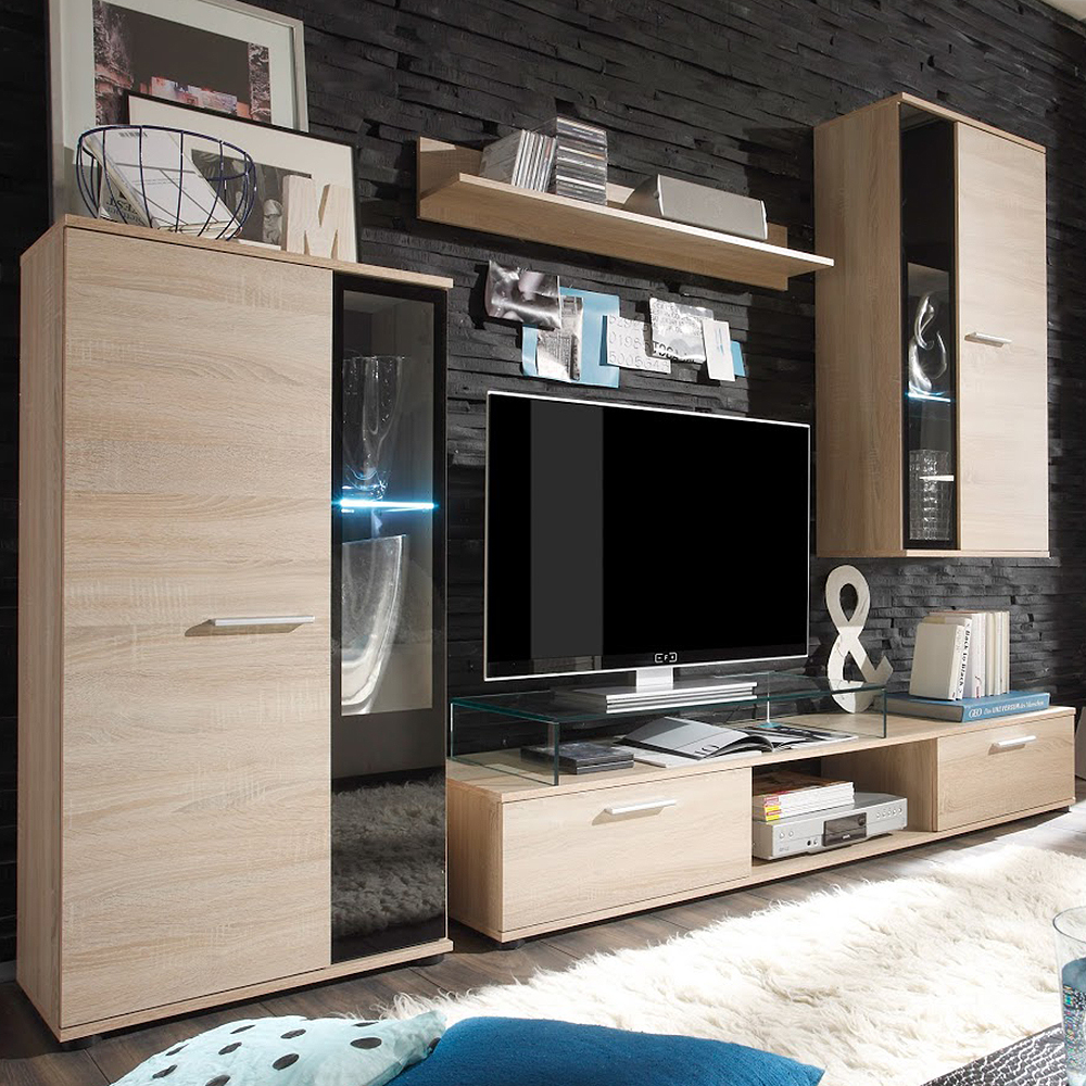 anbauwand wohnwand tv m bel fernsehschrank schrankwand mediawand eiche hell ebay. Black Bedroom Furniture Sets. Home Design Ideas