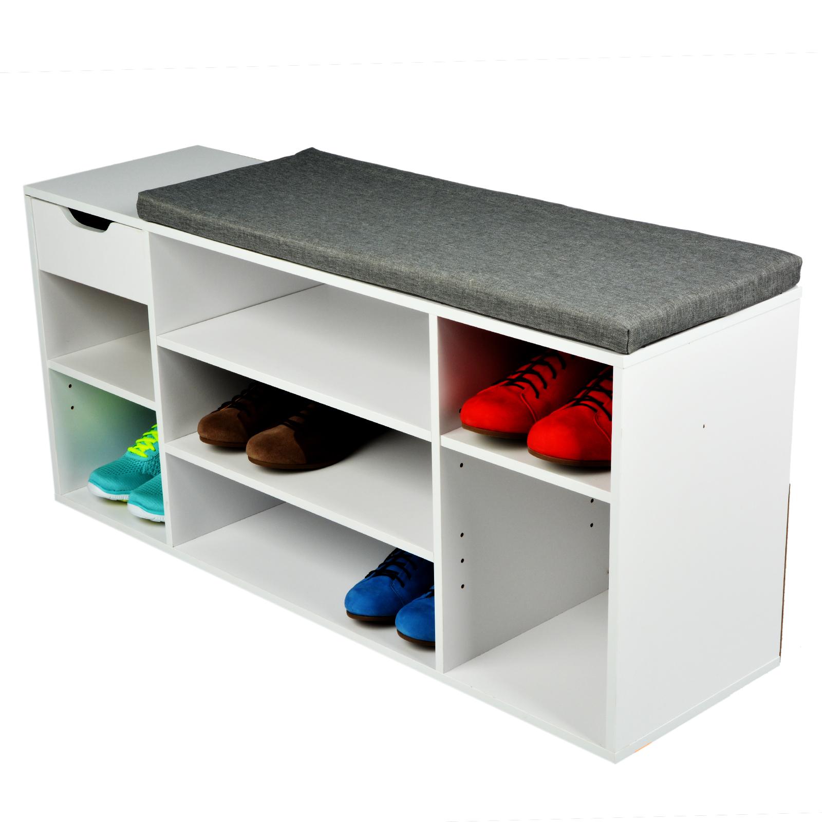 schuhbank mit schublade schuhregal schuhablage sitzbank flur sitzkissen holz ebay. Black Bedroom Furniture Sets. Home Design Ideas